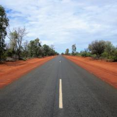Road with red sand sides